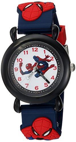 Marvel Boy's 'Spider-Man' Quartz Plastic Casual Watch, Color:Blue (Model: WMA000164)
