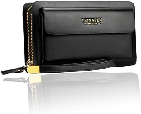 Sllybo Men's PU Leather Clutch Wallet Purse Bag Handbag Business Organizer Zipper Wristlet Long Holder Bag
