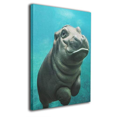 - Paintings Canvas Framed Inside Funny Hippo Decorations Pictures Wall Art for Home Decor Living Room Bedroom Stretched Ready to Hang 20x16 Inches