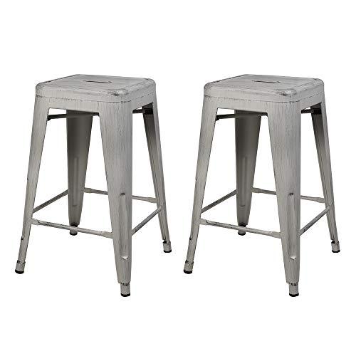 GIA M01-24ANTIWH_2 Barstools 24″ Metal Stool, 2-Pack, Antique White, Seat