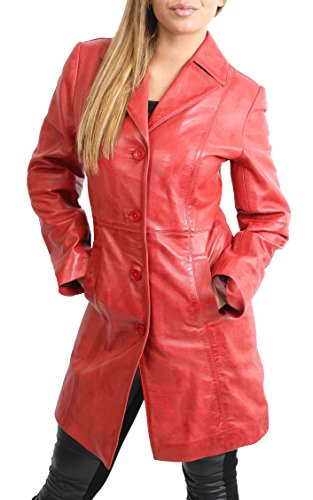 Red Leather Coat - Ladies 3/4 Length Soft Leather Classic Long Single Breasted Coat Macey Red (X-Large)