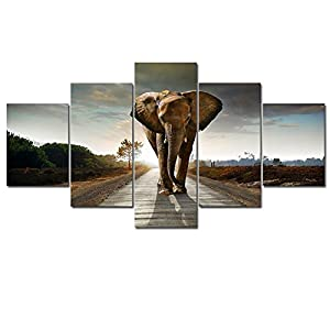 Wieco Art Elephant 5 Panels Modern Giclee Canvas Prints Animals Landscape Artwork Pictures to Photo Paintings on Canvas Wall Art D¨¦cor for Living Room Bedroom Home Decorations