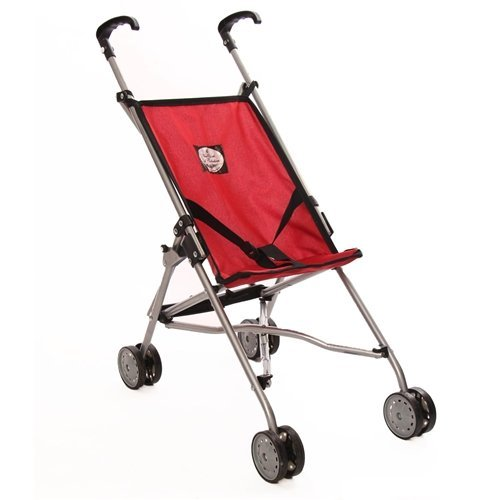 My First Umbrella Doll Stroller, Red (Wicker Doll Buggy)