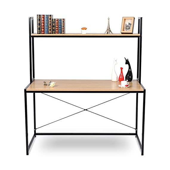 "WOLTU 2-Tier Shelves Modern Home Office Desk Space Saving Computer Book Desk for Corner Use with Wooden - Material:made of laminated particleboard, fixed with sturdy black metal wire. Computer Desk Size:47.3""*23.6""*55.1"".Enough desk surface to put books and computers as a corner desk, save your space. Workable: can be used as business office workstation, meeting desk, home desk, computer desk,gaming notebook desk,study desk for kids etc. - writing-desks, living-room-furniture, living-room - 41T8xDWTg8L. SS570  -"