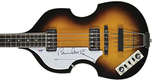 Paul McCartney Beatles Signed Left Handed Hofner Violin Bass Guitar PSA #Q02569