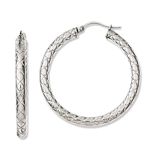 Stainless Steel Round Textured Hoop Earrings - 38mm from Chisel