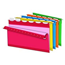 Pendaflex Ready-Tab Reinforced Hanging Folders with Lift Tab Technology, Legal Size, 6-Tab, Assorted Colors, 25 Total Folders per Box (PFX42593)