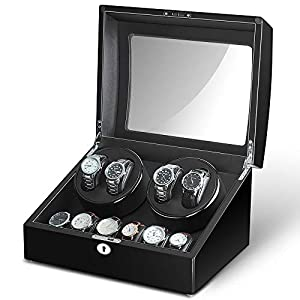 Maselex 4 Watch Winder Box for Automatic Watches with 6 Storages and Quiet Mabuchi Motor