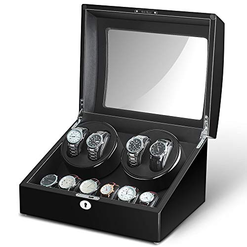 Maselex 4 Watch Winder Box for Automatic Watches with 6 Storages and Quiet Mabuchi Motor-21 Rotation Modes