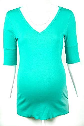 Michael Stars Maternity Beetle Green OSFA Supima Deep Vneck Shirt top