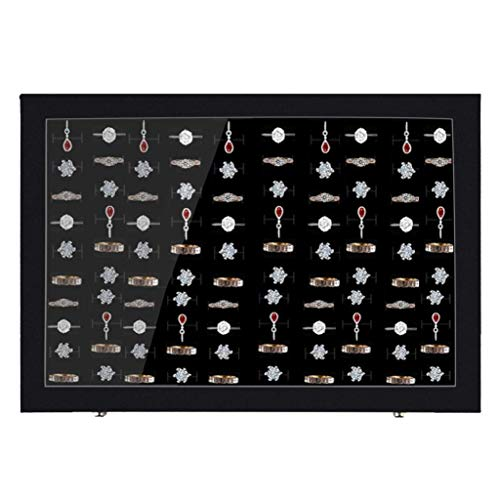 Blingdots Jewelry Ring Storage Boxes, 100 Slot Jewelry Ring Tray Rings Holder Showcase Display Storage Box with Lid Omplete with 2 Integrated Safety Locks