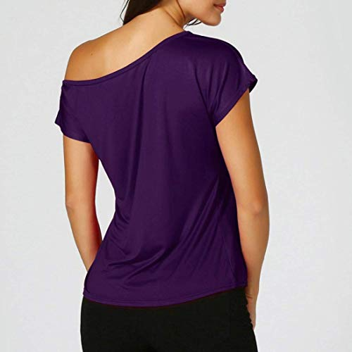 Costume Tshirts Shirts Chic Tops Lilas Une Casual Unicolore Elgante Et Basic Femme Top Trendy Mode Haut Shirt Manches Large Tee Epaule T Courtes 4YTxTR