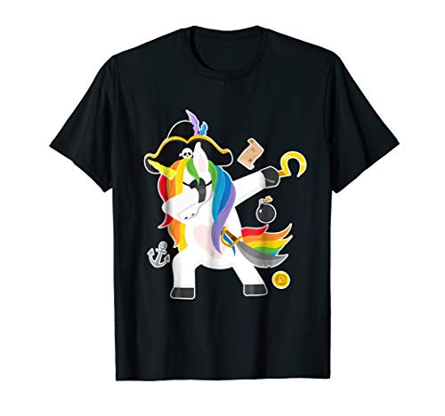 (Unicorn Dabbing Halloween Costume T-Shirt Funny Pirate)