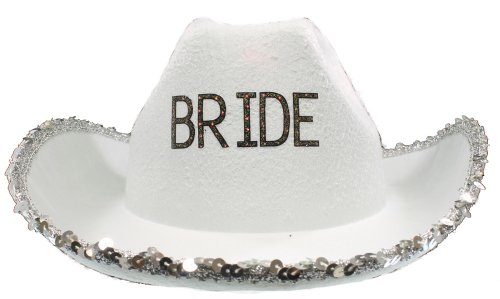 Groom Cowboy Hats - RedSkyTrader Womens Bachelorette Cowboy Hat One Size Fits Most White, Silver
