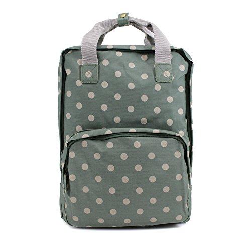 Señoras de hule mochila mochila escuela Colegio Bolsa de hombro portátil para mujer verde