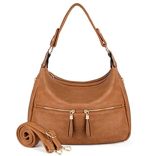 Bag Zipper Style Handbag Purse Shoulder Hobo Leather Pocket Tan PU UTO Brown Women IvxF81