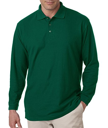 (Ultraclub 8542 Long-Sleeve Whisper Pique Polo - Forest Green - 5XL)