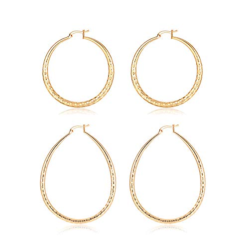 2 Pairs Big Hoop Earrings Set, XINSHIDA 50mm Large Loop Earrings for Women Girls Sensitive Ears,60mm Stainless Steel Oval Hoop Earrings High Polished 18K Gold Plated,Lightweight Hypoallergenic Design