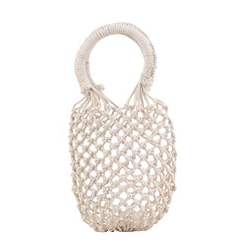 Hombro Bags Navidad Verano Color Cesta blanco Bolsa Shopper Playa Blanco Paja De Drawstring Del Bolso Laat Sólido qI5Apwgg