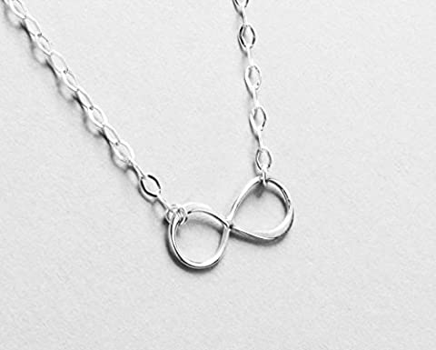 Sideways Infinity Necklace, Sterling Silver Forever Love Jewelry, Best Friends Necklace, Eternity Jewelry, Girlfriend (Sterling Silver Charns)