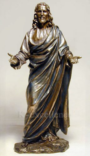 JESUS CHRIST BLESSING STATUE Real Bronze Powder Cast Statue Sculpture 12""