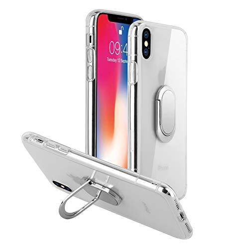iPhone X Case/iPhone Xs case with 360 Rotating Ring Grip Holder Kickstand Function Magnetic Base, Ultra Slim Thin Hard Scrub Cover with Shockproof Protective for Soft TPU iPhone X/XS(Transparent)