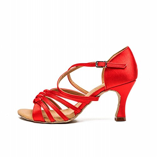 Jazz Shoes Adult Strap Shoes Shoes Modern Dance Sandals Dance red Leather Onecolor with Ankle Dance Satin Latin Female BYLE Samba xwOTgCq