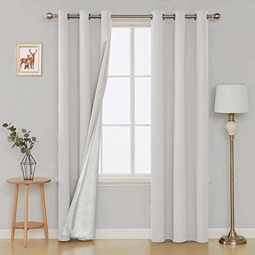 Panel 84l (Deconovo Solid Color Thermal Insulated Blackout Grommet Curtains Room Darkening Drapes with Silver Coating for Bedroom 42W x 84L Inch Greyish White 2 Panels)