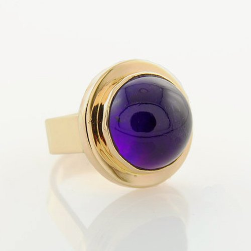 - Brazilian Amethyst Ring set in 14K Yellow Gold High Dome Cabochon Fine Handmade Jewelry Large Statement Ring