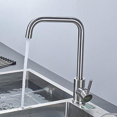 RENJZ Zeitgenössisch Mittellage Keramisches Ventil Ein Loch for Gebürstet , Waschbecken Wasserhahn , polished nickel