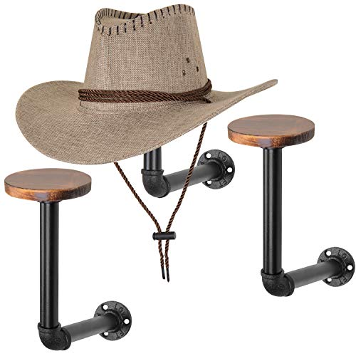Pipe And Hat (MyGift Metal Pipe & Wood Wall Mounted Hat & Wig Holder, Set of)
