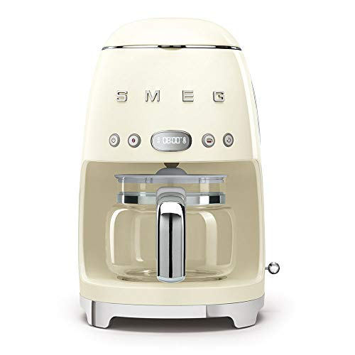 Smeg 1950's Retro Style 10 Cup Programmable Coffee Maker Machine (Cream)
