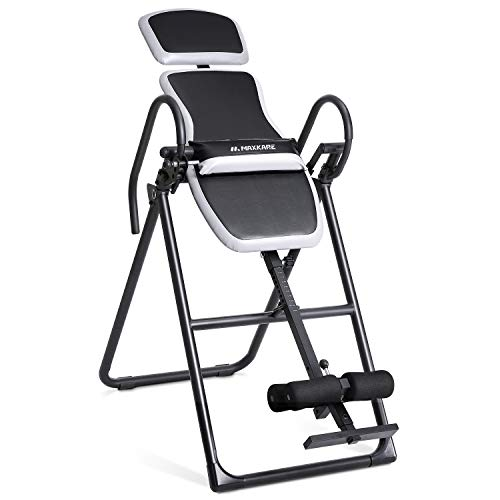 MaxKare Inversion Table Stable Upside Down Back Pain Relief with Adjustable Headrest & Waist Cushion Foldable
