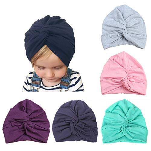 DRESHOW BQUBO 5 Pieces Baby Turban Hats Turban Bun Knot Baby Infant Beanie Baby Girl Soft Cute Toddler Cap 2 Pack Knitted Hat