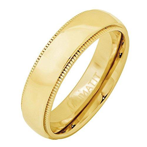 Milgrain Titanium Wedding Band - iPauly 5mm Titanium Yellow Gold Plated Domed Ring with Milgrain Wedding Band Ring