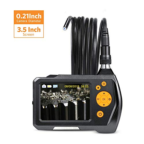 DEPSTECH Industrial Endoscope, Snake Borescope with 3.5in LCD Color Screen, Waterproof 0.21in Inspection Zoom Camera with 10ft Semi-Rigid Cable, 2600mAh Battery ()