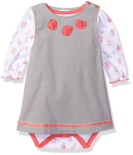 Bon Bebe Baby Girls' 2 Piece Corduroy Jumper Set with Longsleeve Lap Shoulder Bodysuit, Pretty Pink Flowers, 24 Months ()