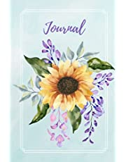 Watercolor Sunflower Journal: Blank Lightly Lined Notebook, Softcover (6x9 inches) with 120 Pages, (Botanical Watercolour Flowers Painting Design), Matte Finish.