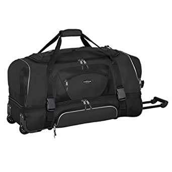 "Adventurer Duffel Collection- 36"" 2-Section Drop Bottom Rolling Duffel  in   Black"