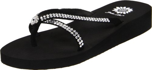 yellow box rhinestone flip flops - 8