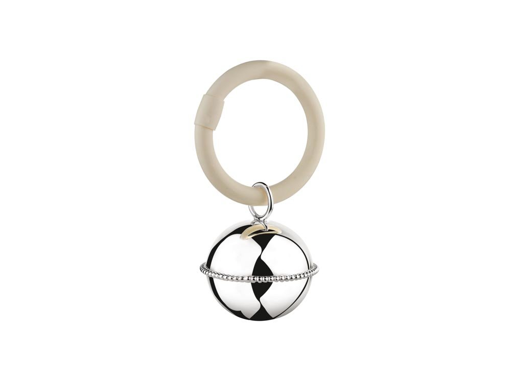 Rassel Ball Perlrand am Ring 9x5 -5x3 -5cm 925er Silber