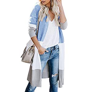 Lovaru Womens Boho Open Front Cardigan Colorblock Long Sleeve Loose Knit Lightweight Sweaters