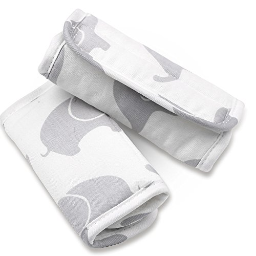 (Grey Elephant Car Seat and Stroller Strap Covers by The Peanut Shell)