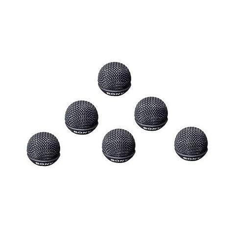 Sony ADR55B Metal Windscreen for ECM-55 Lavalier Microphone, Set of 6, Black (Sony Ecm Lavalier)