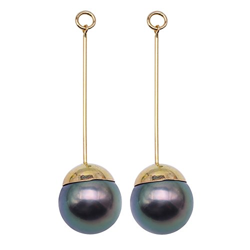JYX 9.5mm Peacock Green Tahitian Pearl Earrings in 18k Gold Chain and Sticks for Wedding Party Gift