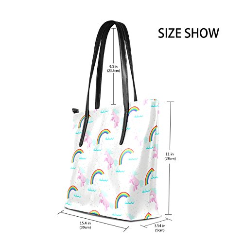 PU Cloud Handbag TIZORAX Totes Bags Unicorn Women's Fashion Rainbow Leather Handle Purses Shoulder Top EwEIHq