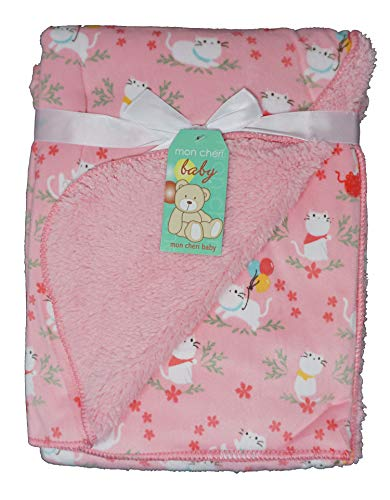 Little Kittie Infant and Christmas Holiday Baby Girl 2 Ply Plush Baby Blanket (Pink ()