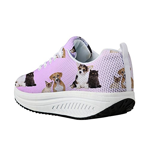 Sneaker 3D Dog Shoes Casual CHAQLIN Wedges 4 Platform Fashion Printing Platform Animal Women's v1nFwgqxZB