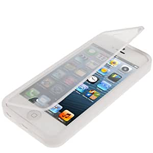 Transparent TPU Case Funda Flip Cover para iPhone 5 5S & (Transparent)