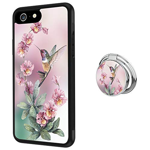 Hynina Phone Case and Phone Ring Buckle Compatible for iPhone 6s Plus 6 Plus - Beautiful Hummingbird Drawing (Hummingbird Iphone 6 Plus Case)